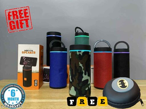 Wireless Portable Bluetooth Speakers kt-125 with Mobile Holder, with USB, Memory Card and Bluetooth Connectivity (Assorted Colour) + 1 Free Decent Cover (Case)