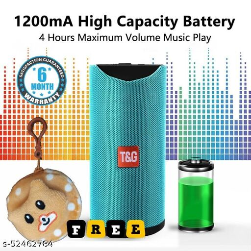 Portable Bluetooth Speaker TG-113 with Bluetooth/Aux/FM/SD Card Support for iOS, Android and Computers (Assorted Colour) + 1 Free Decent Cover (Case)