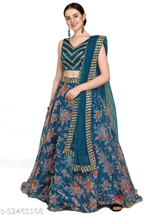 Women's Turquoise Georgette Semi-Stitched Lehenga Choli