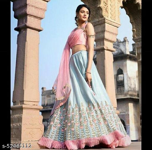 Women's Sky Blue & Pink Georgette Semi-Stitched Lehenga Choli