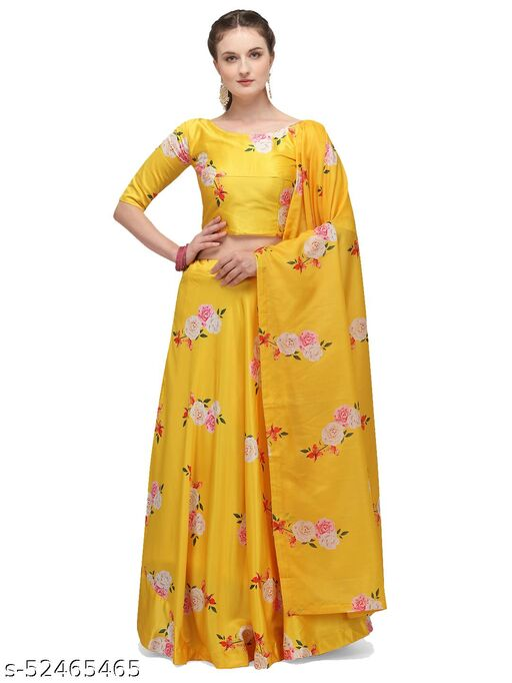 Women's Yellow Georgette Semi-Stitched Lehenga Choli