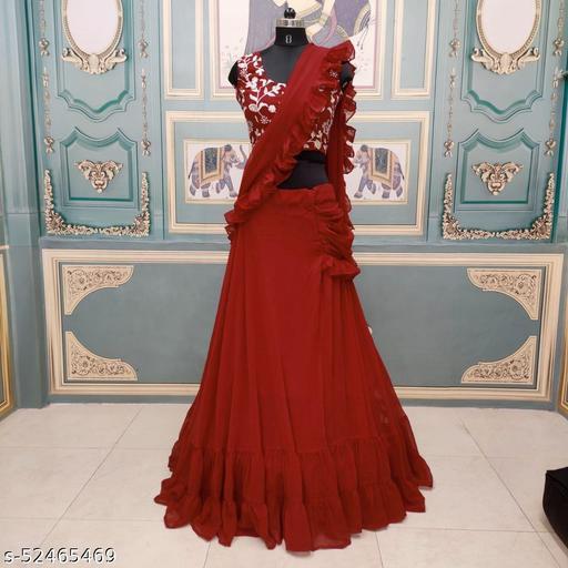 Women's Maroon Georgette Semi-Stitched Lehenga Choli