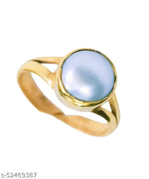 Original Moti Pearl Ring Weight 6.25 Ratti Gold Coated Panch dhatu Adjustable Ring self Certified for Men and Women