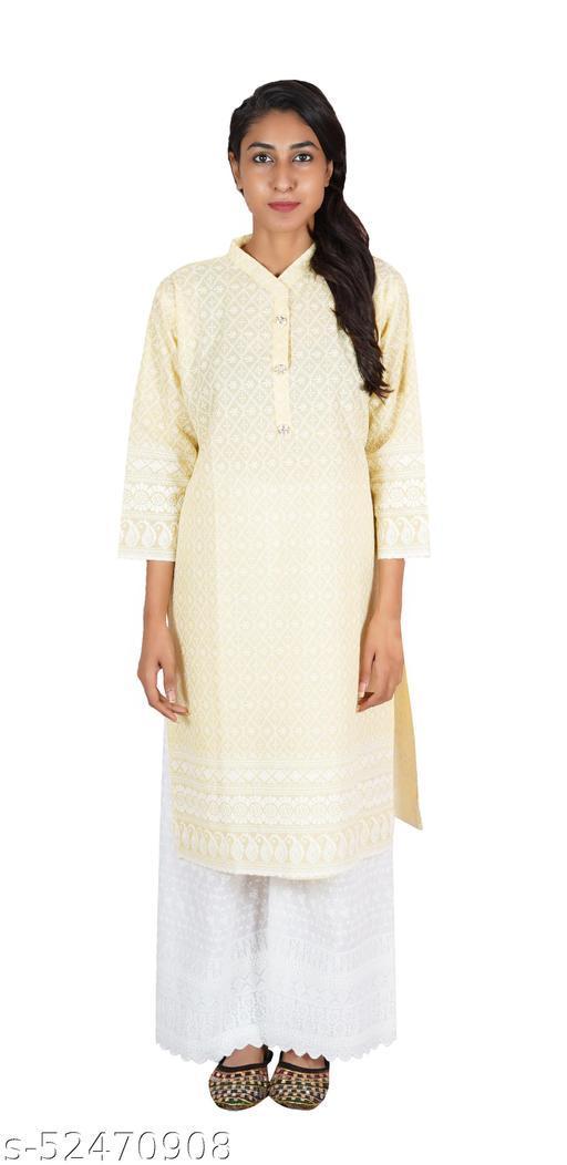 Famira Women's Chikan Embroidery Light Yellow Cotton Kurta & Palazzo set