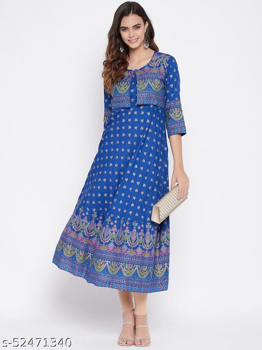 Beautiful Blue Printed Colourful Kurta With Jacket