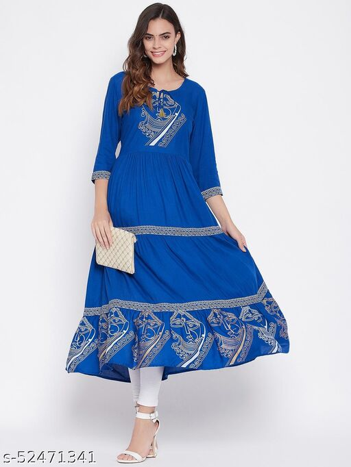 Beautiful Blue Printed Colourful Kurta With Front Design