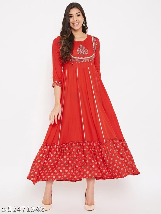 Beautiful Red Embroidered Colourful Kurta With Lace Work
