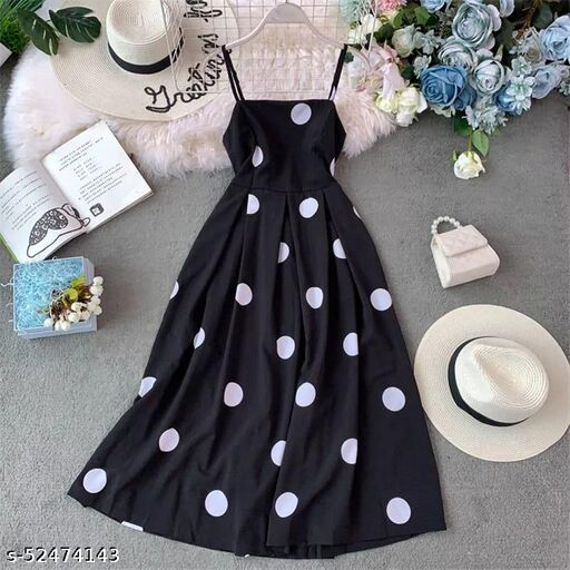 Naks Trendy Stylish Glamorous Women Big Polka Dot Dress