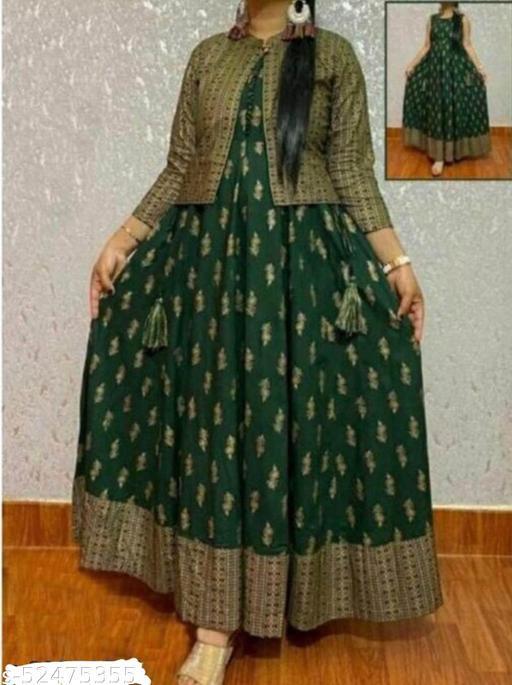 Rayon Gold Printed Anarkali kurta With Rayon Printed Crop Jacket