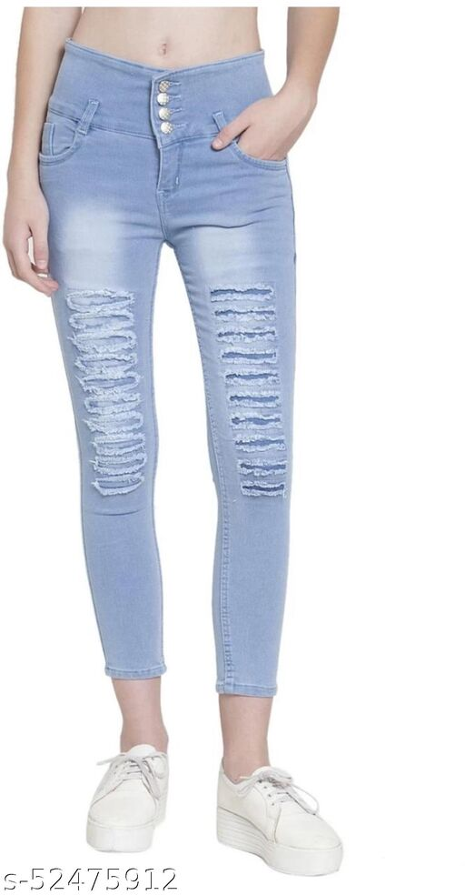 Comfy Stylish Women's Embroidery Efficient Denim Solid Jeans