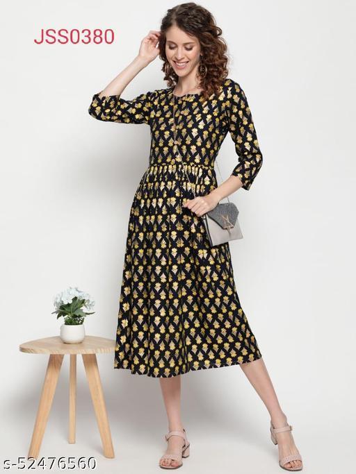 Womens cotton printed long kurta