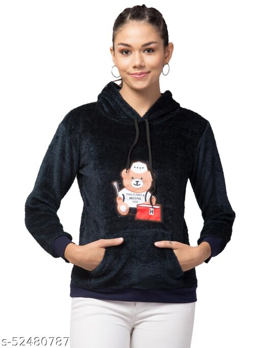 Trendy and Stylish Full Sleeve Bear Design Dark Blue Hoodie For Women
