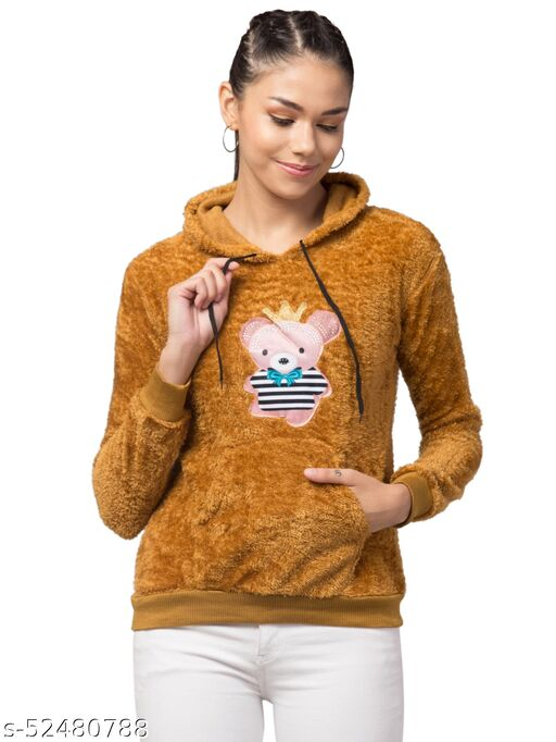 Trendy and Stylish Full Sleeve Bear Design Yellow Hoodie For Women