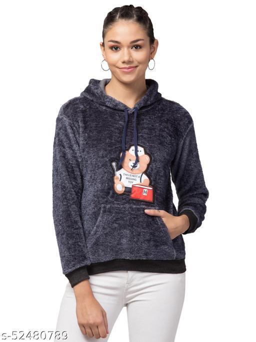 Trendy and Stylish Full Sleeve Bear Design Grey Hoodie For Women