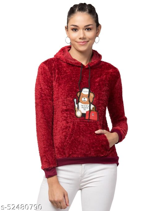 Trendy and Stylish Full Sleeve Bear Design Red Hoodie For Women