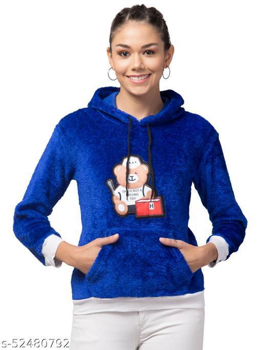Trendy and Stylish Full Sleeve Bear Design Blue Hoodie For Women