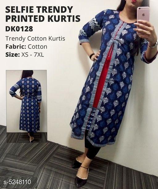 Divena Women's Cotton Ethnic Motif Printed Layered Kurti
