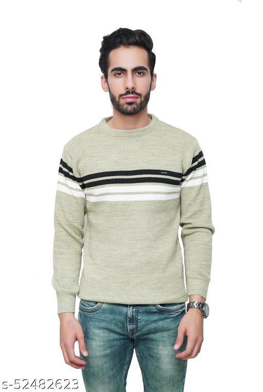 F10 Mens Woolen Slim Fit Striped Round Neck Full Sleeve Sweater