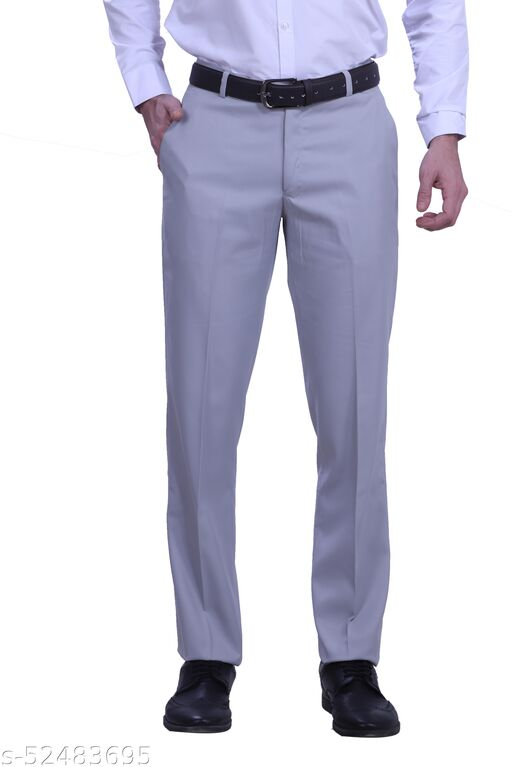 Touch Fitt Men's Regular Fit Formal Plain Trousers Available in 11 Size (Color-Grey)