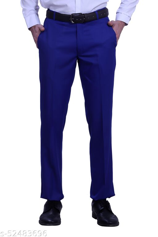 Touch Fitt Men's Regular Fit Formal Plain Trousers Available in 11 Size (Color-Dark Royal Blue)