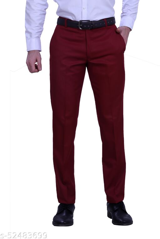 Touch Fitt Men's Regular Fit Formal Plain Trousers Available in 11 Size (Color-Red)