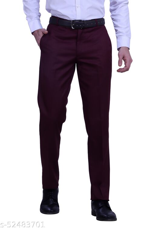 Touch Fitt Men's Regular Fit Formal Plain Trousers Available in 11 Size (Color-Dark Purple)