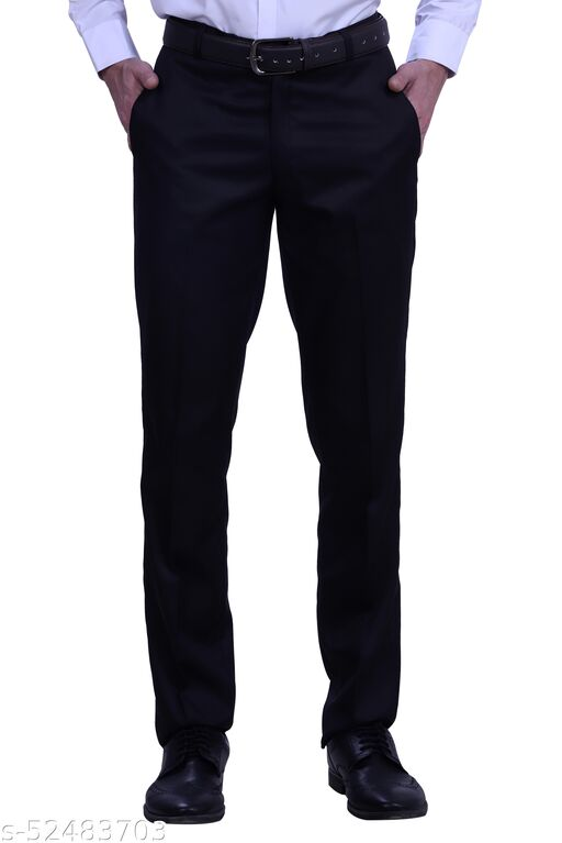 Touch Fitt Men's Regular Fit Formal Plain Trousers Available in 11 Size (Color-Light Black)