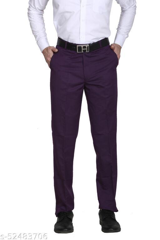 Touch Fitt Men's Regular Fit Formal Plain Trousers Available in 11 Size (Color-Purple)