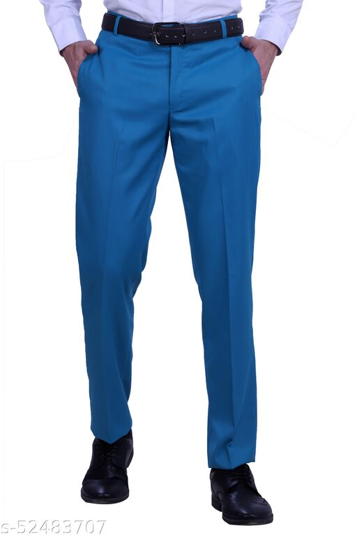 Touch Fitt Men's Regular Fit Formal Plain Trousers Available in 11 Size (Color-Turquoise)
