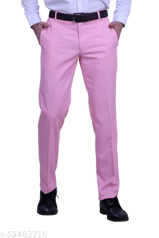 Touch Fitt Men's Regular Fit Formal Plain Trousers Available in 11 Size (Color-Pink)