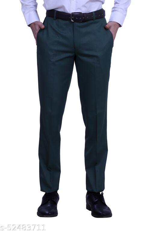 Touch Fitt Men's Regular Fit Formal Plain Trousers Available in 11 Size (Color-Green)