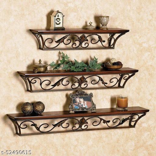 Lxonline Wooden Iron Wall Shelf Wall Bracket Floating Wall Shelves for Home Decor
