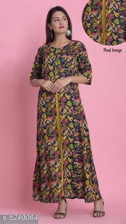 Divena Women's Rayon Floral Printed Layered Kurti