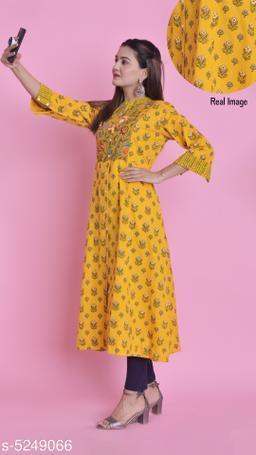 Women Flared Printed Yellow Kurti