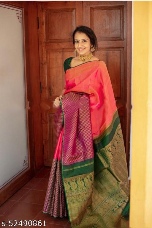 WONDERFUL Kanchipuram silk butta GOLD WITH WINE  gold zari checks and floral gold-silver buttas dazzle beauifully on this Gold Banarasi Silk Saree , WITH BLOUSE