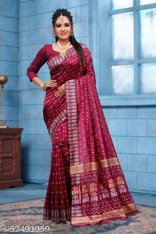 SOFT LICHI SILK BEAUTIFUL RICH PALLU & JACQUARD WORK ON ALL OVER THE SAREE WITH WOVEN CONTRAST FABRIC WITH EXCLUSIVE JACQUARD BORDER WITH BLOUSE