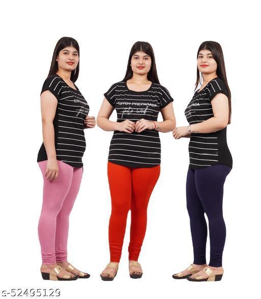 YEZI Stylish Combo Pack of 3 Churidar Leggings for Women / Girls ( Colour :  PInk,red,neavyblue)