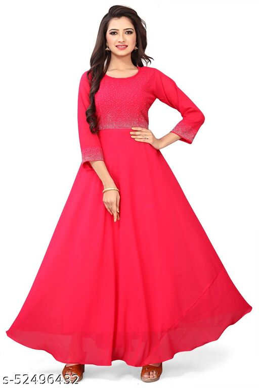 EXCLUSIVE RED COLORED CASUAL WEAR GEORGETTE GOWN