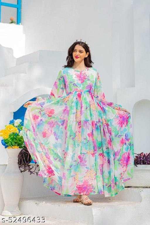 Impressive Multi Color Digital Printed Designer Gown