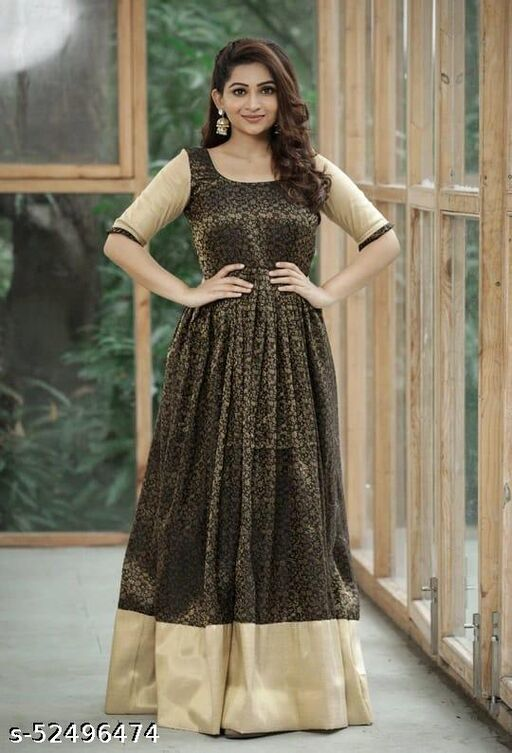 Black Colored Casual Wear jacquard Gowns