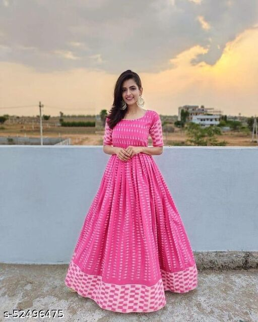 Stylish pink colored Party Wear  Printed Tapeta Women Long gowns