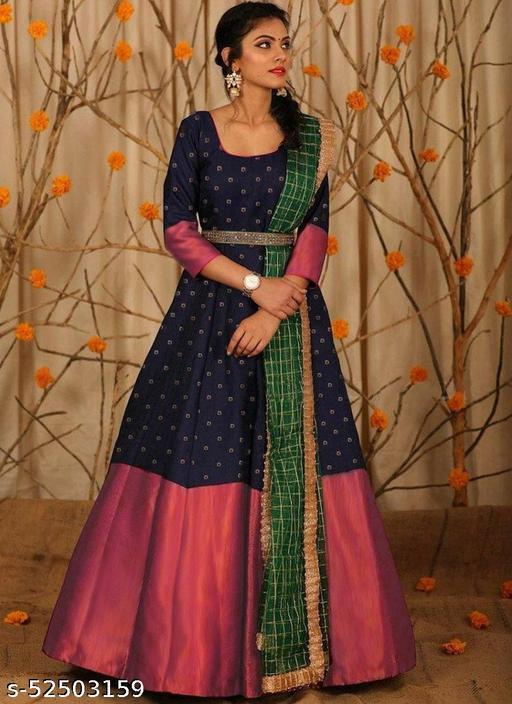 Navy Blue Silk Butti Anarkali Gown With Chanderi Silk Dupatta