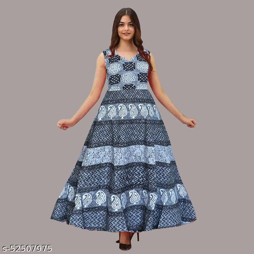 Women Sleeveless Cotton Printed Gown Dress