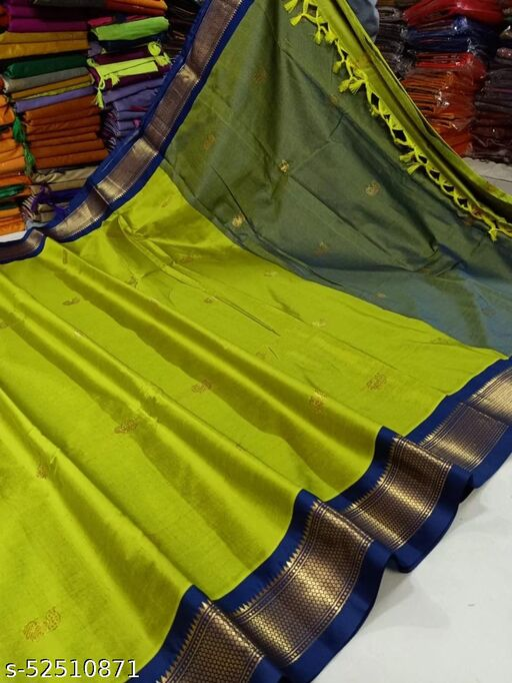 Yeola Traditional Paithani Cotton Silk Sarees With Contrast Blouse Piece (Lemon & Navy)
