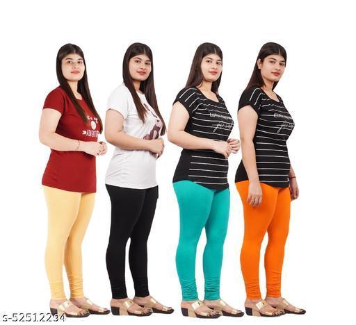 YEZI Stylish Combo Pack of 4 Churidar Leggings for Women / Girls ( Colour :  beige,black,cgren,orange)