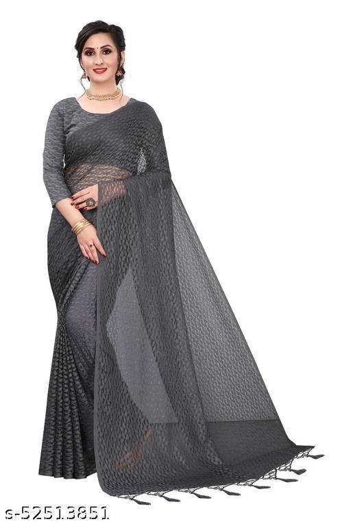 Self Design Lucknow Russel Net Saree Pandadi