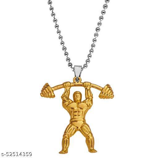 Fitness Gym Masculine Barbell BodyBuilder Dumbbells Gym Jewelry Locket Chain