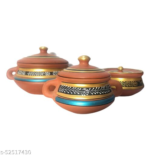 terracotta clay mithani set for kitchenware set of 3