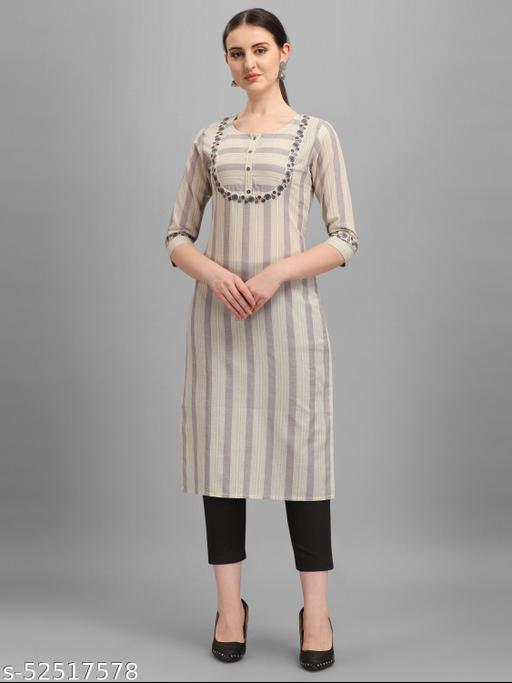 Desimode By 100 Miles Printed Grey Cotton Straight Kurti