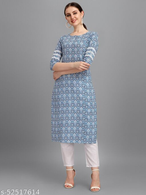 Desimode By 100 Miles Embroidered Beige Cotton Straight Kurti